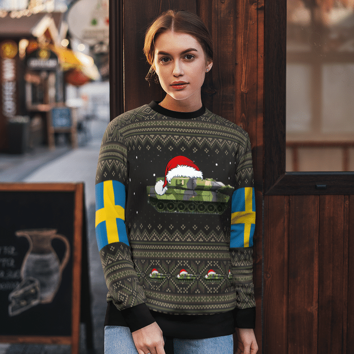 Swedish Army Stridsvagn 122 Tank Ugly Christmas Sweater