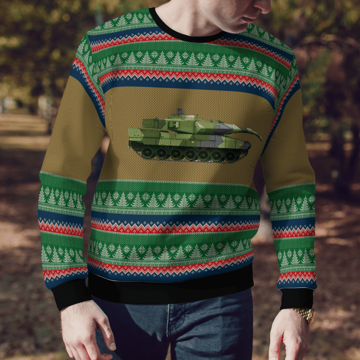 Swedish Army Stridsvagn 122 Tank Ugly Sweater