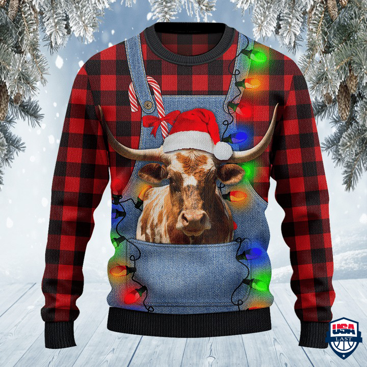 TX Longhorn Cattle Lovers Red Plaid Shirt And Denim Bib Overalls All Over Print Sweater
