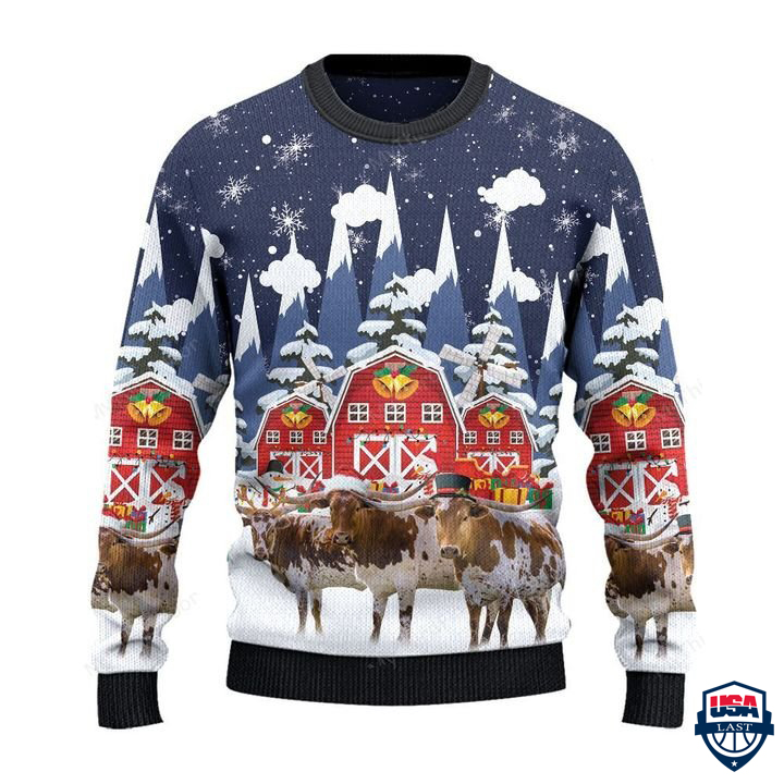 TX Longhorn Cattle Lovers Snow Farm All Over Print Ugly Sweater