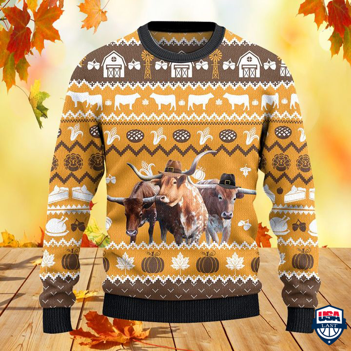 TX Longhorn Cattle Lovers Thanksgiving Gift All Over Print Sweater