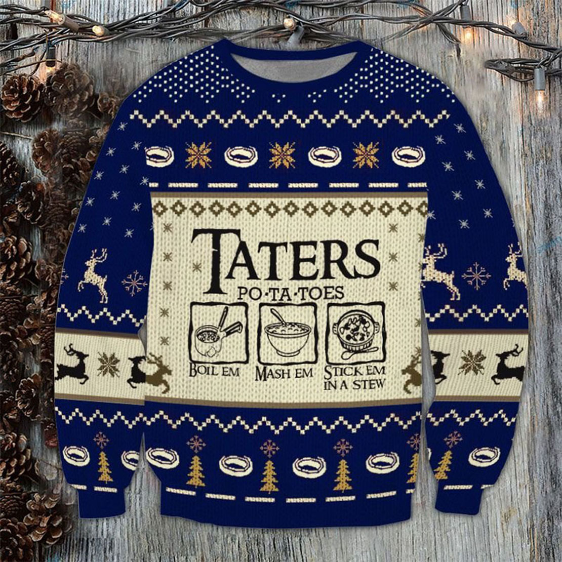 The Lord of the Rings Taters Potatoes Boil em Ugly Sweater
