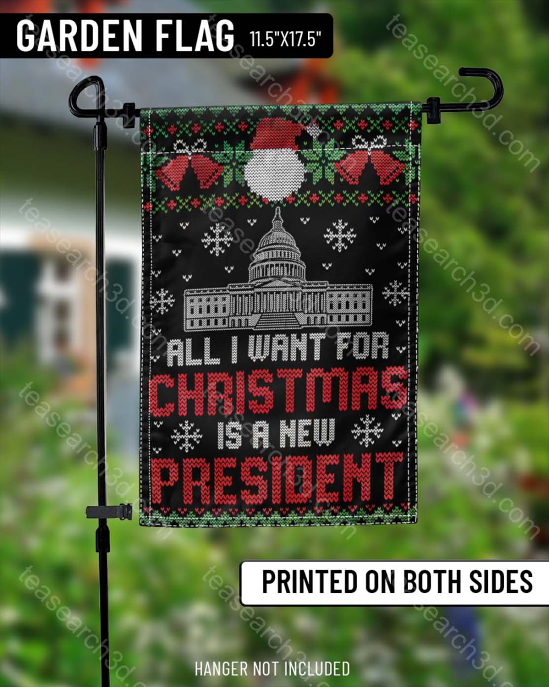 US Capitol Building All I want for christmas is a new president garden flag