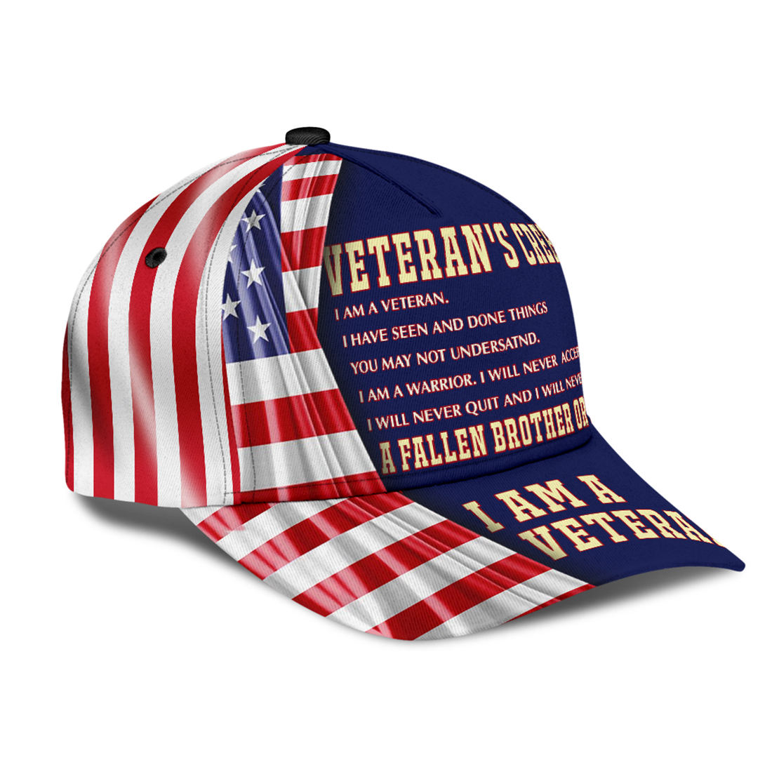 Veteran's creed I am a veteran American flag cap hat