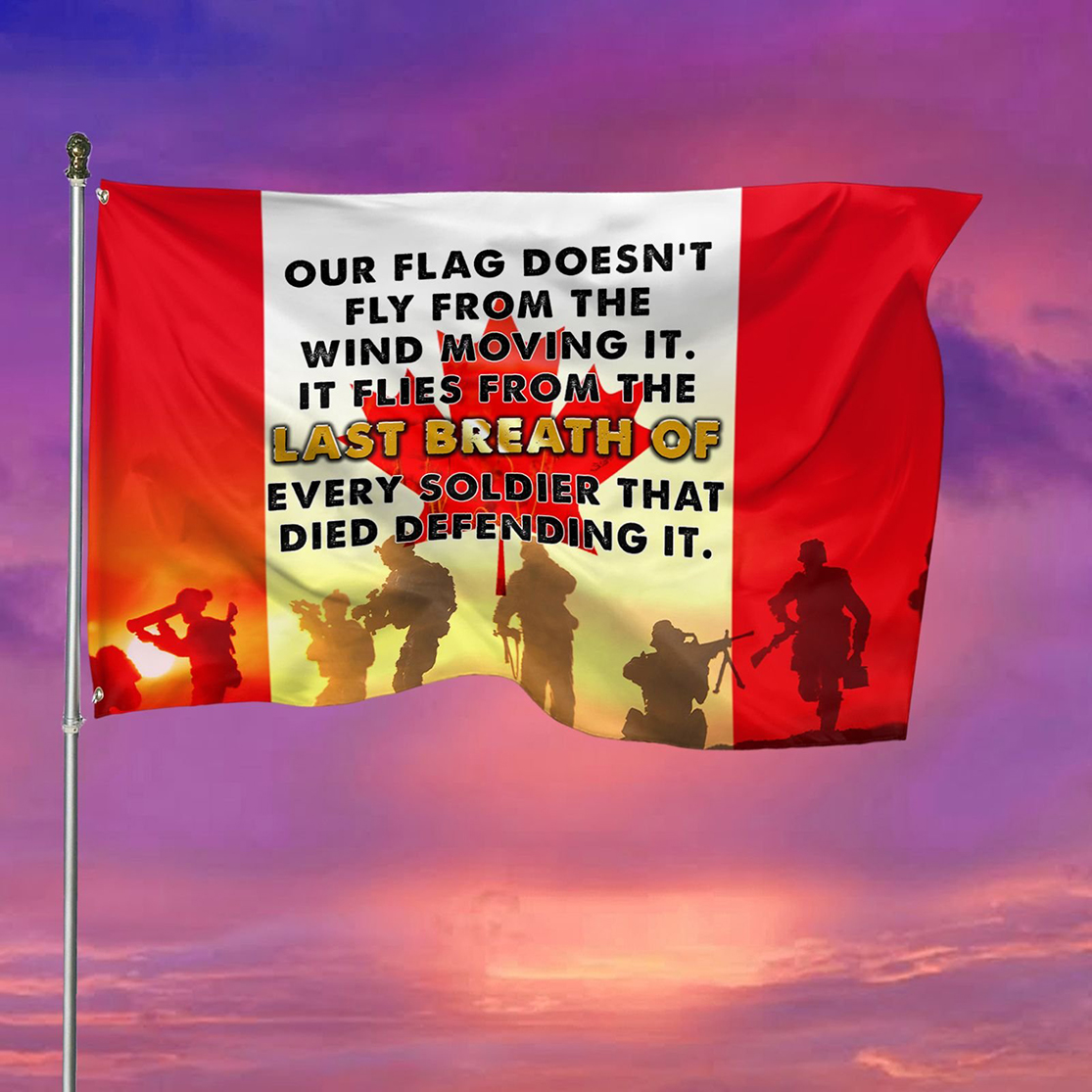 Veteran's day Our flag doesn't fly from the wind moving it flag