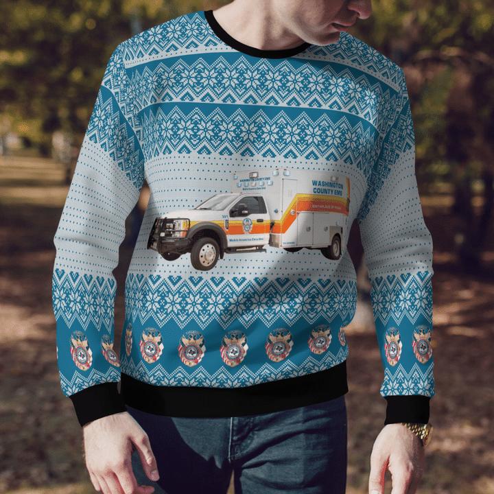 Washington County Tx Ems Ambulance Ugly Christmas Sweater