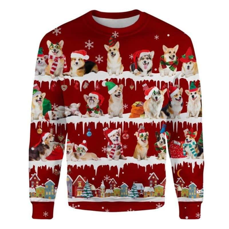 Welsh Corgi Snow Christmas 3D Ugly Sweater