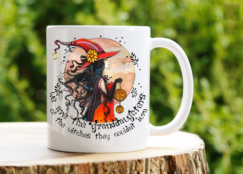 Witches Halloween With Pumpkin And Moon Coffee Mug
