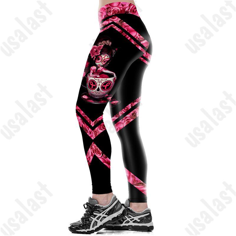 Skull fairy breast cancer awareness full print leggings