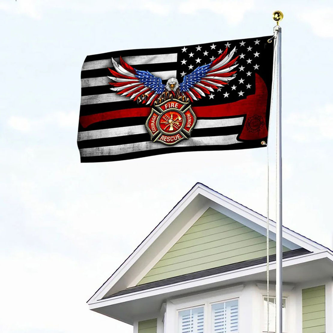 Firefighter Eagle The Thin Red Line Flag